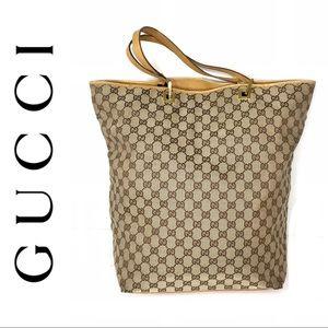 Authentic Gucci large brown monogram tote bag